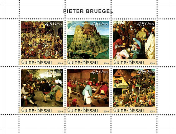 Paintings of Bruegel 6v x 450 - Issue of Guinée-Bissau postage stamps