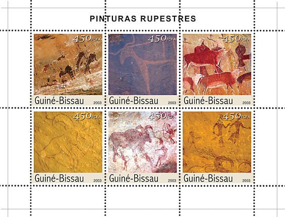 Rupestry paintings 6v x 450 - Issue of Guinée-Bissau postage stamps