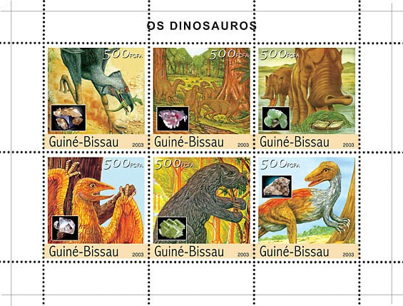 Dinosaurs 6v x500 - Issue of Guinée-Bissau postage stamps