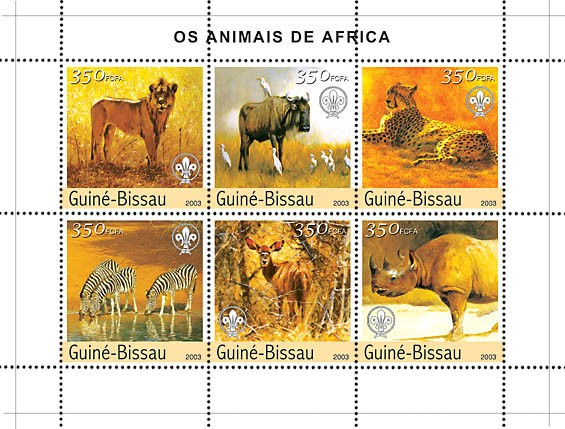 Animals of Africa 6v x350 - Issue of Guinée-Bissau postage stamps