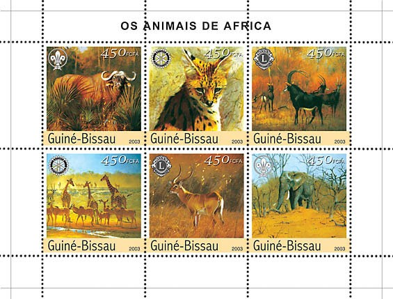 Animals of Africa 6v x450 - Issue of Guinée-Bissau postage stamps