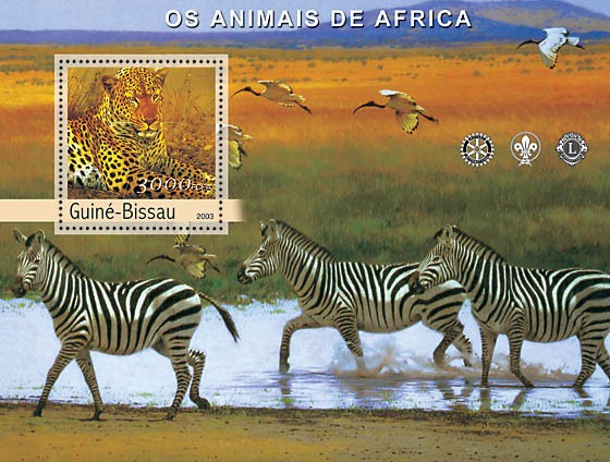 Animals of Africa s/s 3000 - Issue of Guinée-Bissau postage stamps