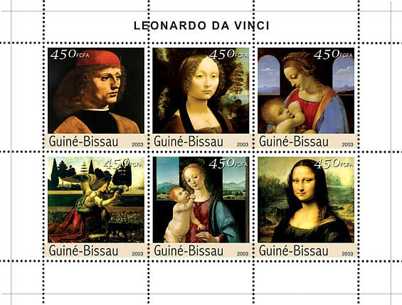 Paintings of Leonardo da Vinci 6v x 450 - Issue of Guinée-Bissau postage stamps