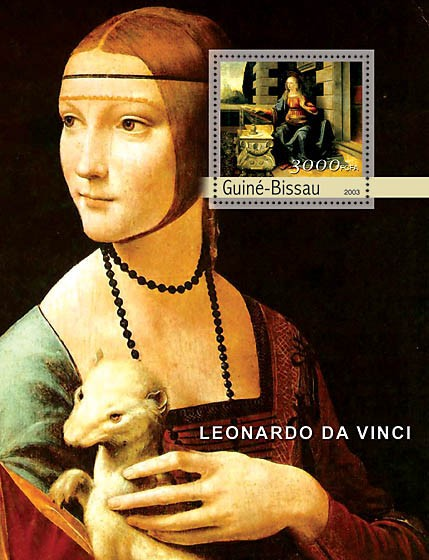 Paintings of Leonardo da Vinci s/s 3000 - Issue of Guinée-Bissau postage stamps