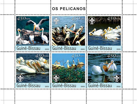Pellicans 6v x450 - Issue of Guinée-Bissau postage stamps