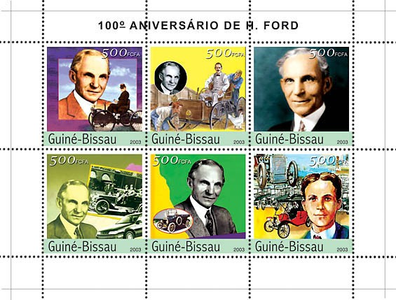 100th Anniversary Henry Ford 6v x500 - Issue of Guinée-Bissau postage stamps