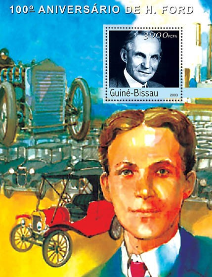 100th Anniversary Henry Ford s/s 3000 - Issue of Guinée-Bissau postage stamps