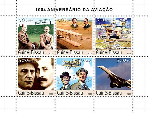 100th Anniversary Aviation 6v x500 - Issue of Guinée-Bissau postage stamps