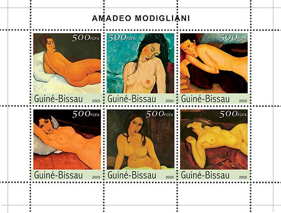 Paintings of Modiglianni 6v x500 - Issue of Guinée-Bissau postage stamps