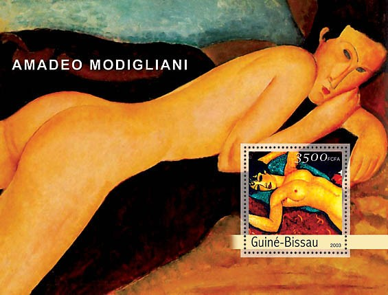 Paintings of Modiglianni s/s 3500 - Issue of Guinée-Bissau postage stamps