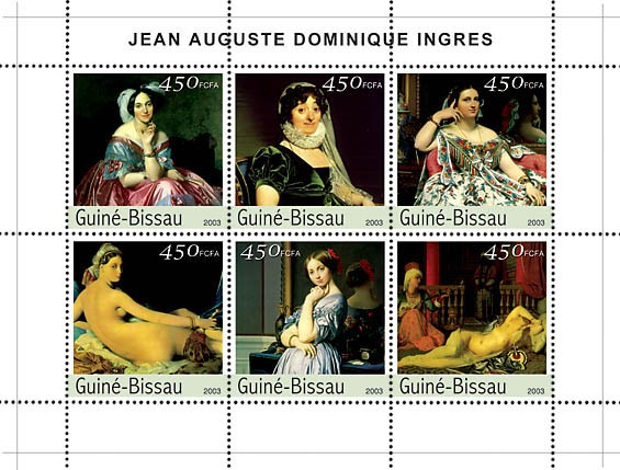 Paintings of Ingres 6v x450 - Issue of Guinée-Bissau postage stamps