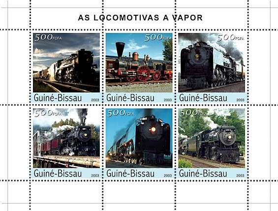 Steam Trains 6v x500 - Issue of Guinée-Bissau postage stamps