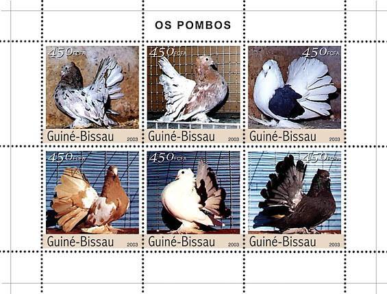 Pigeons 6v x450 - Issue of Guinée-Bissau postage stamps