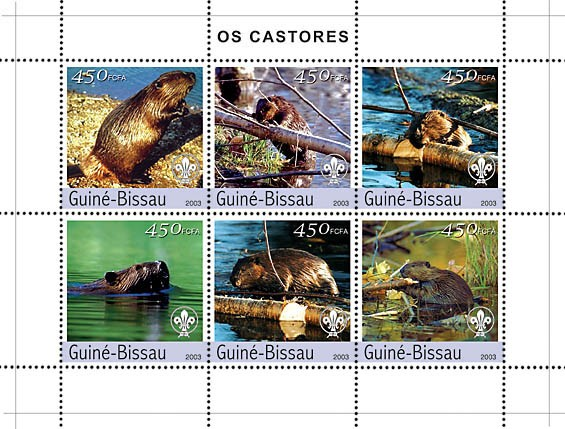 Beavers 6v x450 - Issue of Guinée-Bissau postage stamps
