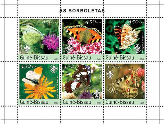 Butterflies 6v x450 - Issue of Guinée-Bissau postage stamps