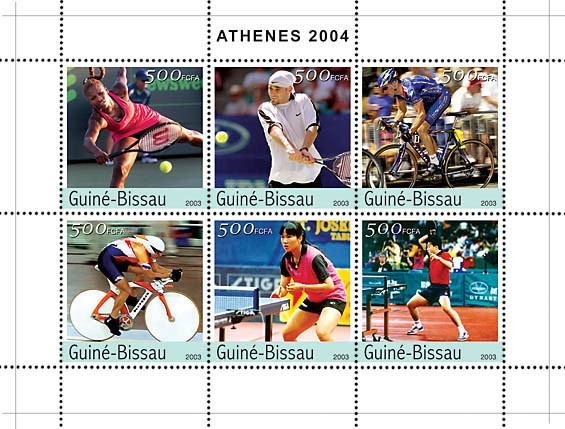 Athenes 2004 6v x500 - Issue of Guinée-Bissau postage stamps