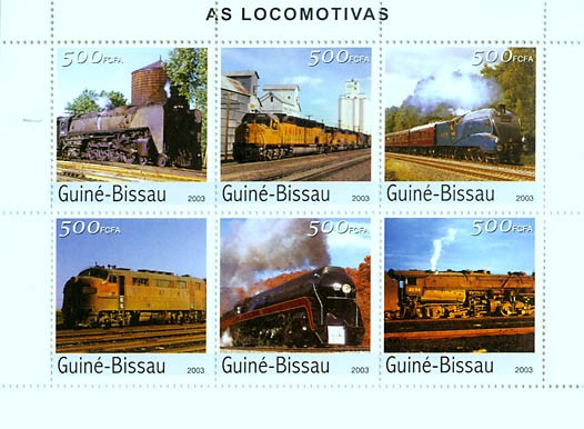 Trains 6v x 500 FCFA - Issue of Guinée-Bissau postage stamps