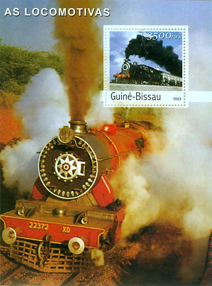 Trains s/s 3500 FCFA - Issue of Guinée-Bissau postage stamps