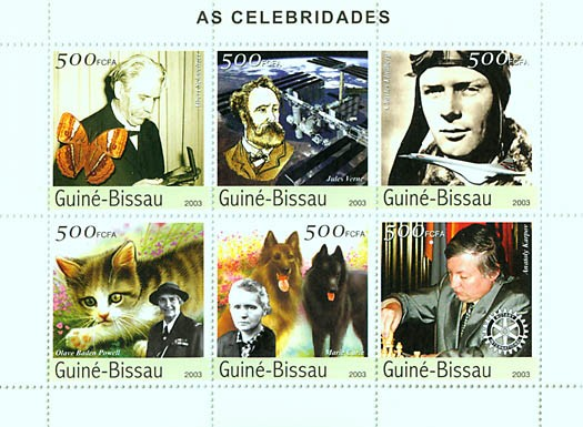 Celebrities 6v x 500 FCFA - Issue of Guinée-Bissau postage stamps