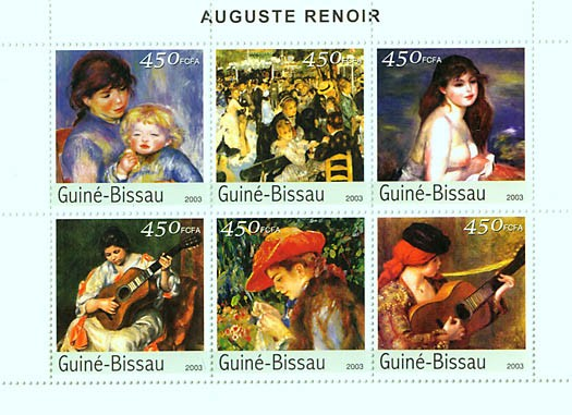 Paintings of Auguste RENOIR 6v x 450 FCFA - Issue of Guinée-Bissau postage stamps