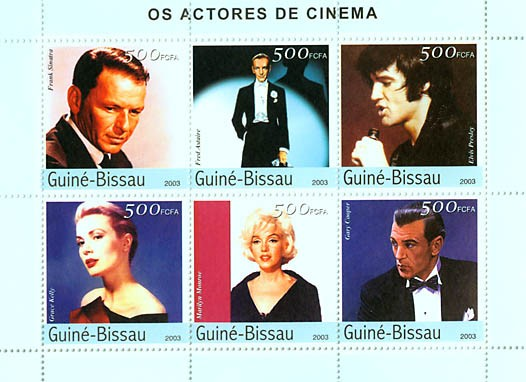 Cinema - actors 6v x 500 FCFA - Issue of Guinée-Bissau postage stamps