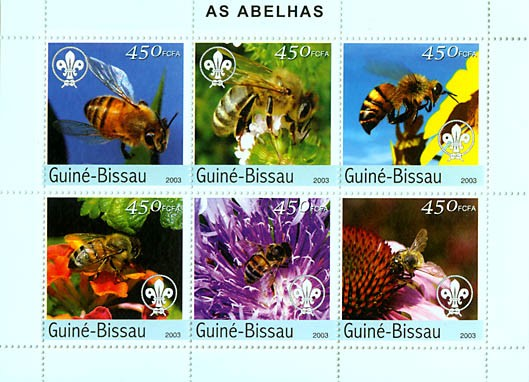 Bees & scouts logo 6v x 450 FCFA - Issue of Guinée-Bissau postage stamps