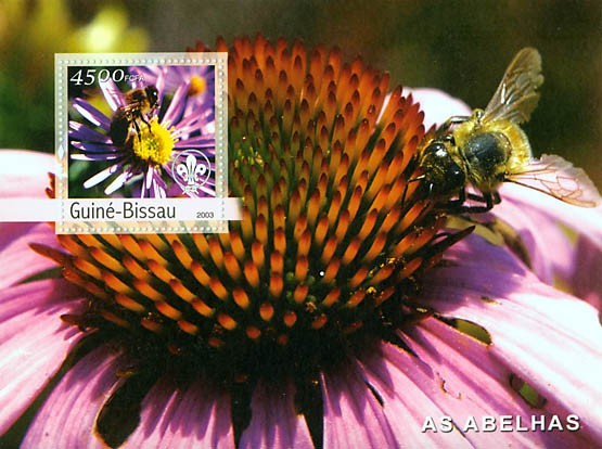 Bees & scouts logo s/s 4500 FCFA - Issue of Guinée-Bissau postage stamps
