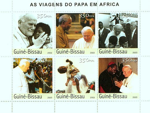 Pope's Travels in Africa 6v x 350 FCFA - Issue of Guinée-Bissau postage stamps