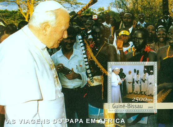 Pope's Travels in Africa s/s 2500 FCFA - Issue of Guinée-Bissau postage stamps