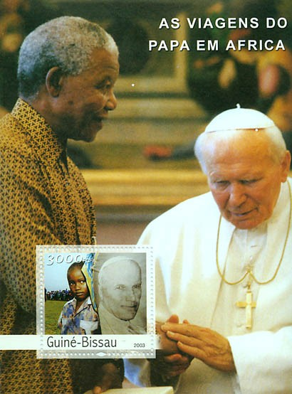Pope's Travels in Africa s/s 3000 FCFA - Issue of Guinée-Bissau postage stamps