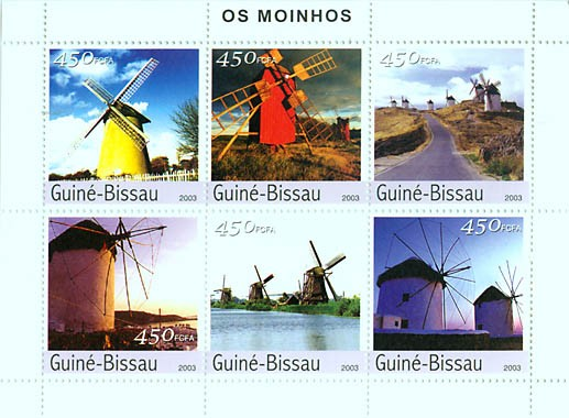 Windmills 6v x 450 FCFA - Issue of Guinée-Bissau postage stamps