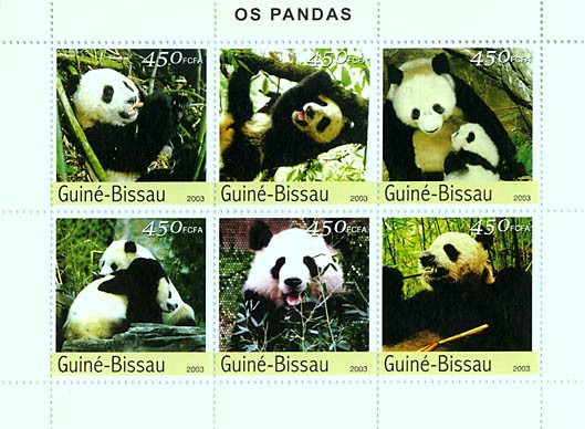 Panda 6v x 450 FCFA - Issue of Guinée-Bissau postage stamps