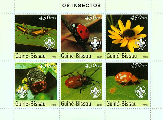 Insects 6v x 450 FCFA - Issue of Guinée-Bissau postage stamps