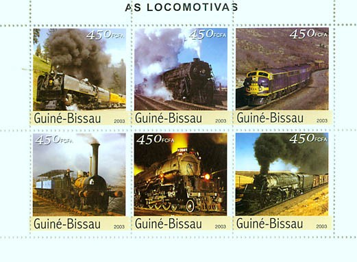 Trains 6v x 450 FCFA - Issue of Guinée-Bissau postage stamps