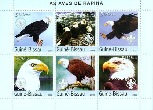 Eagles & scouts 6v x 500 FCFA - Issue of Guinée-Bissau postage stamps