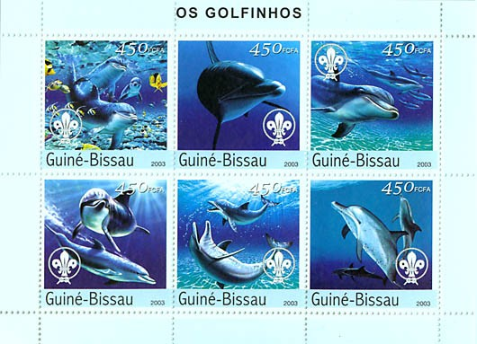 Dolphins & scouts 6v x 450 FCFA - Issue of Guinée-Bissau postage stamps