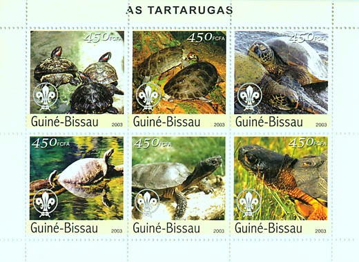 Turtles & scouts logo 6v x 450 FCFA - Issue of Guinée-Bissau postage stamps