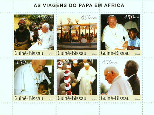 Pope's travels in Africa 6v x 450 FCFA - Issue of Guinée-Bissau postage stamps