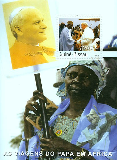 Pope's travels in Africa s/s 4000 FCFA - Issue of Guinée-Bissau postage stamps