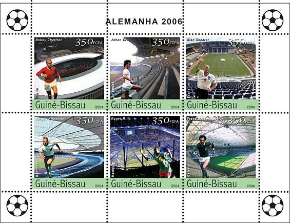 Football-2006 Germany 6 x 350 F - Issue of Guinée-Bissau postage stamps