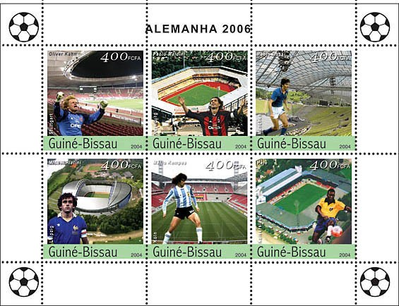 Football-2006 Germany 6 x 400 F - Issue of Guinée-Bissau postage stamps