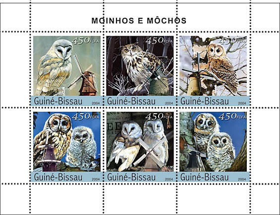 Owls & Windmills 6 x 450 F - Issue of Guinée-Bissau postage stamps