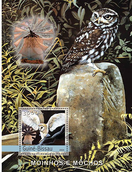 Owls & Windmills 3000 F - Issue of Guinée-Bissau postage stamps