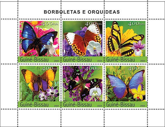 Butterflies & Orchids 6 x 400 F - Issue of Guinée-Bissau postage stamps
