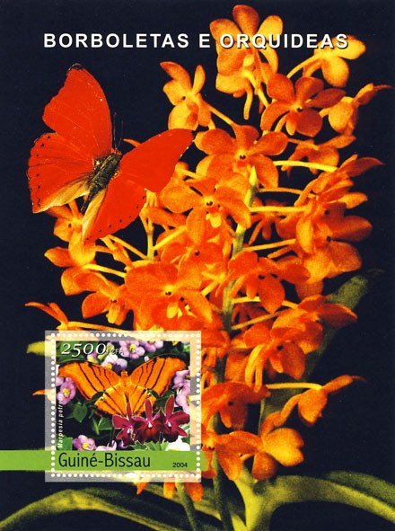 Butterflies & Orchids 2500 F - Issue of Guinée-Bissau postage stamps