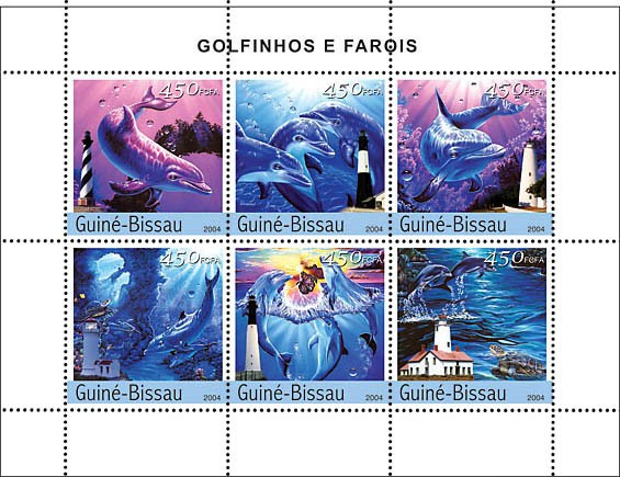 Dolphins & Lighthouses 6 x 450 F - Issue of Guinée-Bissau postage stamps