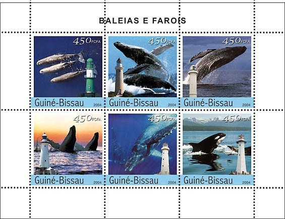 Whales & Lighthouses 6 x 450 F - Issue of Guinée-Bissau postage stamps