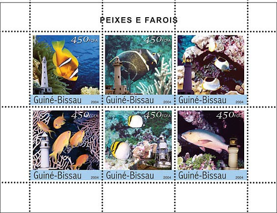 Fish & Lighthouses 6 x 450 F - Issue of Guinée-Bissau postage stamps