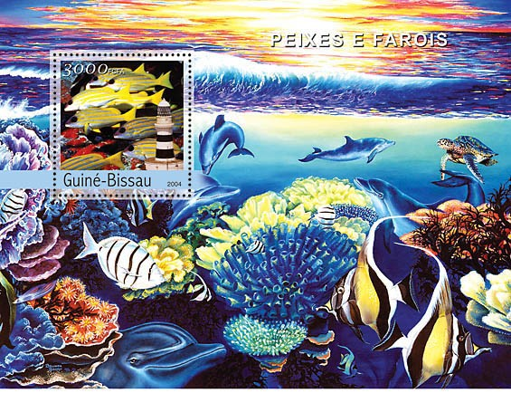 Fish & Lighthouses 3000 F - Issue of Guinée-Bissau postage stamps