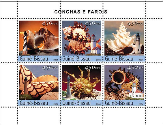 Shells & Lighthouses 6 x 450 F - Issue of Guinée-Bissau postage stamps